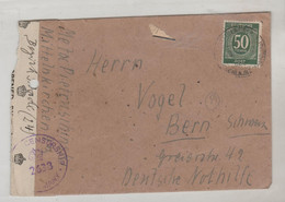 TIMBRE D ALLEMAGNE 1946 Nr 932b CENSUREE SUR LETTRE DE MITTELENKIZCHEN POUR BERN-SCHWEIZ - Allemagne