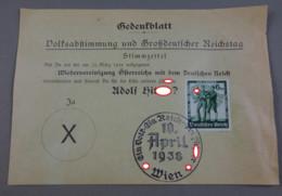 Feuillet Commémoratif Du Référendum En Autriche En 1938 - Allemagne