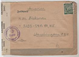 TIMBRE D ALLEMAGNE 1946 Nr 932b CENSUREE SUR LETTRE DE BRITICH ZONE  POUR LES USA - Allemagne