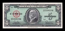 Cuba 5 Pesos Máximo Gómez 1960 Pick 92 MBC VF - Cuba