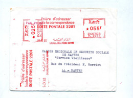 2 Lettre Flamme Ema Casablanca Adresse Boite Postale - Maroc (1956-...)