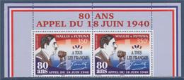 80 Ans De L'Appel Du 18 Juin De Gaulle à Tous Les Français, Wallis Et Futuna, Neuf  350F = 2.93€ Paire Haut De Feuillet - De Gaulle (General)