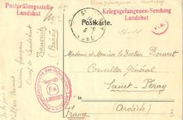 Allemagne 1915 - Postkarte - Kriegsgefangenen Sendung - De Landshut à St Péray/Ardèche - Cachet Postprüfungsstelle F.A. - Storia Postale