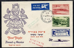 8972 Israel 1957 Air France First Flight Reg Illustrated Cover To Mexico City Bearing Air Stamps With Various Backstamps - Vliegtuigen