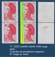 """FR Variétés YT 2223 Roulette Paire """" Liberté 1F80 Rouge """" 2 Bandes De Phosphore à Gauche N° Rouge - Variétés: 1980-89 Neufs"""
