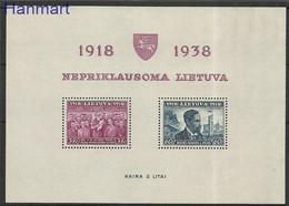 Lithuania 1939 Mi Bl 1 MNH ( ZE3 LTHbl1 ) - Lithuania