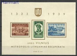 Lithuania 1940 Mi Bl 2 MNH ( ZE3 LTHbl2 ) - Lithuania