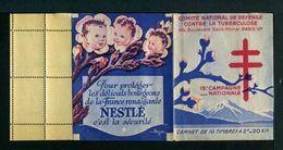 Carnet De 1945  - Tuberculose - Antituberculeux - VAR Fond Gris-bleu Page 1-PUB  GIBBS Rouge Nestlé Bébé Fleur Bourgeons - Zonder Classificatie