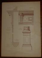 Cheminée. Détails. Menuiserie - Ebénisterie. M. Boileau Fils, Architecte à Paris. M. Moisy, Menuisier à Paris. 1887. - Planches & Plans Techniques
