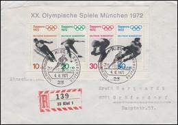 Block 6 Olympiade Sapporo 1971 Als EF Auf R-FDC ESSt Kiel Eishockey 4.6.1971 - [7] Federal Republic