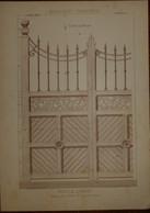 Porte De Communs. Menuiserie - Ebénisterie. M. Geisse, Architecte à Paris. M. Lavaud, Menuisier à Marly. 1887. - Planches & Plans Techniques