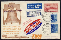 8973Israel 1957 TWA First Flight Reg Cover To USA (Philadelphia) Bearing Air Stamps With Various Backstamps - Vliegtuigen