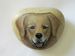 Original Painting Of A Golden Retriever Dog Hand Painted On A Spanish Beach Stone Paperweight Decoration - Dogs