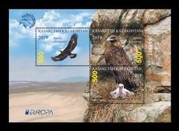 Kazakhstan 2019 Mih. 1160/62 (Bl.123) Europa. Fauna. National Birds. Golden Eagles MNH ** - Kazajstán