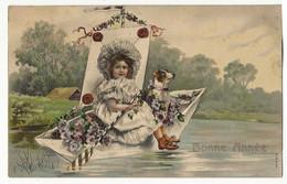 """1905-  Heureuse Année - Fillette Et Chien Dans Une Barque """" En Relief"""" - Nouvel An"""