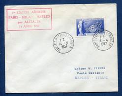 ⭐ France - Premier Vol - Paris - Milan - Naples - Alitalia - 1957 ⭐ - Vliegtuigen