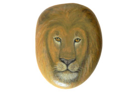 Original Painting Of A Lion Hand Painted On A Smooth Beach Stone Paperweight - Fermacarte