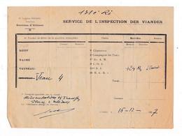 Document 1937  Service De L'inspection Des Viandes, Garnison D'Orléans - Documenten