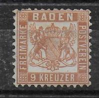 BADEN - YVERT N° 19 * MH - COTE = 40 EUR - Baden