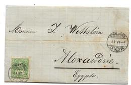 Ch060A / SCHWEIZ - Schwanden 1882 Nach Alexandria (Ägypten) - 1862-1881 Sitted Helvetia (perforates)