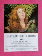 ETIQUETTE BERGERAC SEC CHATEAU PETITE BORIE 1990    26/09/20 - Bergerac