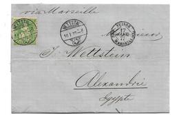 CH060c / SCHWEIZ - Nettstal Via Marsale 1877 Nach Ägypyen - 1862-1881 Sitted Helvetia (perforates)
