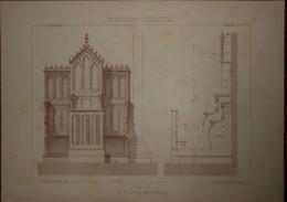 Stalles. Menuiserie - Ebénisterie.  M. V. Lambinet, Menuisier à Bordeaux 1887. - Planches & Plans Techniques