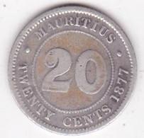 Ile Maurice 20 Cents 1877 H , Victoria , En Argent - Mauritius