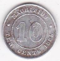 Ile Maurice 10 Cents 1889 H , Victoria , En Argent - Mauritius
