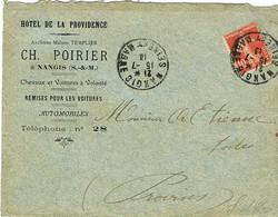 ENVELOPPE  A EN-TETE HOTEL DE LA PROVIDENCE CH POIRIER NANGIS SEINE ET MARNE - 1877-1920: Periodo Semi Moderno