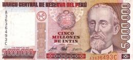 Peru P.149  5000000 Intis 1990 Xf - Perú