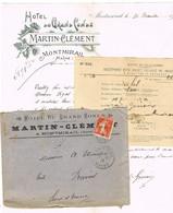 ENVELOPPE ET CONTENU  A EN-TETE HOTEL DU GRAND CONDE MONTMIRAIL MARNE - 1877-1920: Periodo Semi Moderno