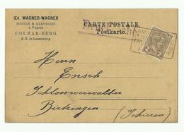 2 Centimes Olive Obl. Griffe Ambulant LUXEMBOURG-TROISVIERGES Sur Carte Imprimé E. Wagner à Colmar-Berg) Du 3-6-1907 Ver - 1895 Adolphe Profil