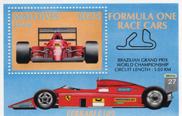 Maldives  -  Formula One Race Cars  -  Ferrari F189 - Brazilian Grand Prix  -  1v Sheet Neuf/Mint/MNH - Cars