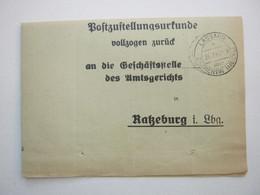 1941 , LASSAHN über Zarreentin , Klarer Stempel Auf Zustellurkunde - Allemagne