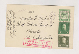 MONTENEGRO AUSTRIA CETINJE 1917 Censored Postal Stationery To USA - Montenegro