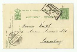 E.P. Carte 5 Centimes Obl. Griffe Ambulant BETTINGEN-ETTELBRUCK F.C. Du 27/02/1907 Vers Luxembourg - 16276 - Ganzsachen