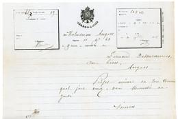 TELEGRAMME 1863 MALANSAC MORBIHAN A ANGERS MAINE ET LOIRE 160MM X 230MM MODELE AIGLE N°324 SCANS - 1849-1876: Periodo Clásico