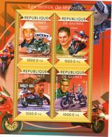 Guinée 2015- Les Motos De Légende -Thompson (Vincent)-Buell- Springsteen(Lucifer)-Steve McQueen  -  4v Sheet Neuf/MNH - Motorbikes