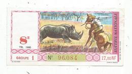 JC , Billet De Loterie Nationale,  8 E, Groupe 1, Huitième Tranche 1960, 17,50 NF,  Les Grandes Chasses , AFRIQUE - Lottery Tickets