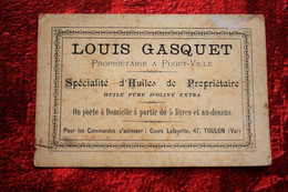 47 CRS LAFAYETTE TOULON SPÉCIALITÉS D'HUILES DE PROPRIÉTAIRES Carte De Visite Publicitaire☛ HUILE PURE OLIVES EXTRA-1910 - Tarjetas De Visita