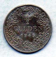 GERMAN STATES - BAVARIA, 1/2 Gulden, Silver, Year 1845, KM #417 - Kleine Munten & Andere Onderverdelingen