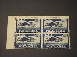 VENEZIA GIULIA - A.M.G.V.G. -P.A. 1946 UCCELLO L. 2, In Quartina - NUOVO(++) - 7. Triest