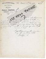 79 - Deux-sèvres - FENIOUX - Facture CHARTIER - Atelier De Construction Mécanique, Cycles Et Autos - 1909 - REF 162B - 1900 – 1949