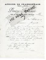 79 - Deux-sèvres - NOIZE - Facture DENIZE - Charronnage, épicerie, Mercerie - 1913 - REF 162B - 1900 – 1949