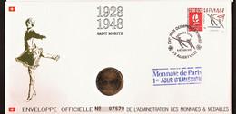 """Enveloppe 1er Jour """"ALBERVILLE"""" St Moritz 1928 1948 - Timbre Médaille 92 Monnaie De Paris - Winter 1992: Albertville"""