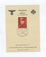 1941 3.Reich Schönes Gedenkblatt Geburtstag Des Führers Mit Sondermarke Mi 772 SST Obersalzberg - Allemagne