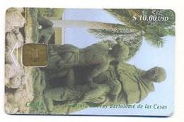 CUBA, Used Chip Phonecard, In Perfect Condition. Escultura De Fray Bartolomé De Las Casas, # Cuba-8 - Cuba