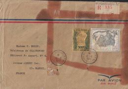 HAUTE VOLTA - LETTRE RECOMMANDEE - TIMBRE OR - 500F DE GAULLE + TIMBRE ARGENT NOEL 1970 - DE OUAGADOUGOU LE 13-6-1972 - Upper Volta (1958-1984)