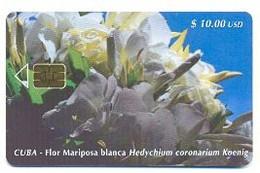 CUBA, Used Chip Phonecard, In Perfect Condition, Flor Mariposa Blanca, # Cuba-66 - Cuba